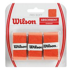 WILSON Pro Soft Overgrip Tennis Sopra Presa, Arancione (Rosso), padel o Squash