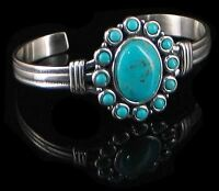 Sterling Silver Natural Turquoise Flower Cuff Bracelet