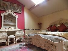 White or Cream Rococo bedroom set with 5' bed and dressing table Carved Mahogany