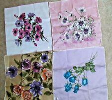 """Vintage Designer """"Colette"""" Floral Handkerchiefs (4)"""