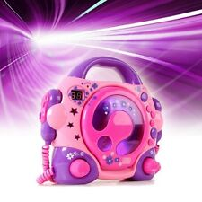 Kinder Stereo Anlage tragbarer Karaoke CD Player 2x Mikrofon BigBen CD47 pink