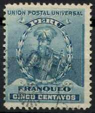 Peru 1896-1900 SG#341, 5c Turquoise Blue, Pizarro Used #E1266