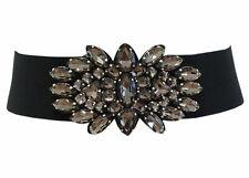 Damen Stretchgürtel Perlen Fransen Taillengürtel Antrazit mit Druckknöpfe C-9052