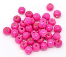 200 Piezas Perlas de madera Bolas rosa 9x10mm Abalorios Espaciador Artesanal