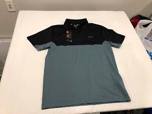 NWT $55.00 Under Armour Golf Men Performance Colorblock Polo Black / Blue MEDIUM