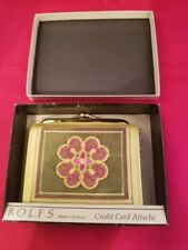 """ROLFS Women's Needle Point Wallet Credit Card Attache Check Holder 4.25x4"""""""