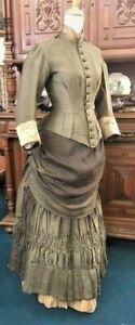 #21-112, 1880's Green Silk & Wool Blend 2 pc. Bustle Gown