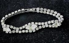 "Vintage Signed WEISS Silvertone Clear Rhinestones 7""  Bracelet Great condition"
