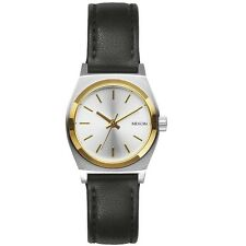 Nixon A5091884 Small Time Teller Leather Steel & Gold Womens Analog Watch