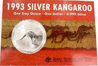 .1993 99.9% 1 OZ SILVER UNC $1, SILVER KANGAROO.