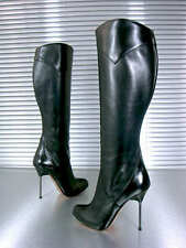 MORI ITALY KNEE HIGH HEELS NEW BOOTS STIEFEL STIVALI SHOES LEATHER BLACK NERO 37