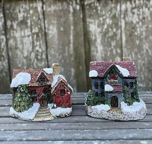 Miniature Christmas Holiday Village House Hotel Buildings Resin Set of 2