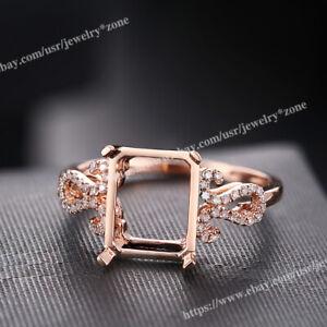 Elegant SI Diamond Ring Solid 18k Rose Gold Emerald/Cushion 9x7mm to 10x8mm Gift