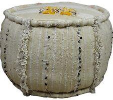 Large vintage ronde piped edge fait main marocain handira paillettes kilim tabouret