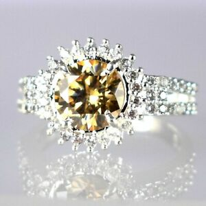 New Year's Gift 4.55 Ct Champagne Diamond Solitaire Halo Ring-White Finish