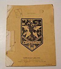 VINTAGE 1985 DATA EAST COMMANDO MANUAL ~ PINBALL & ARCADE MACHINE GAME