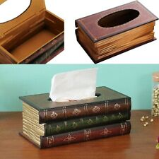 Wooden Book Shape Tissue Box Cover Napkin Paper Storage Case Holder Organizer