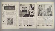 RCA Radiola Radio Console PRINT AD - 1929 - LOT of 3 diff. ads