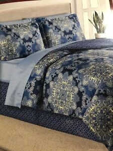 Sunham Home Fashions 8 piece Windsor Comforter Set King Blue Teal Yellow
