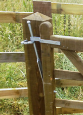 "Field Gate Spring Latch Catch Fastener SET Galv Farm Lock Paddock 24"" +Fixings"
