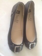 Lovely Ladies/Girls Flat Black Shoes With Buckle, Size 3 New Shop Clearance