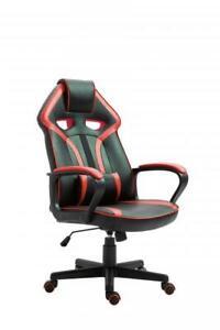 Gaming Stuhl Chefsessel CASINO  von Intra direct Kunstleder schwarz / rot