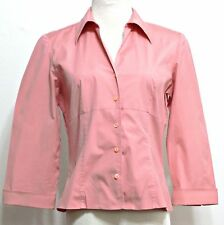 Talbots Ladies Rose Pink Cotton Stretch Button Front Fitted Shirt - Size 8