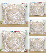"""5 Pcs Set Of 24"""" Pillow Cover Floral White Gold Sofa Decorative Cushion Covers"""