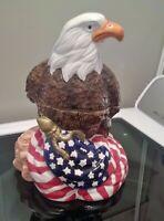 Vintage Tone World SMC 1998 Ceramic Cookie Jar Rare Eagle flag Patriotic MUSIC!!