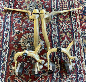 VINTAGE WEINMANN TYPE 500 GOLD ANODIZED BRAKE SET - LEVERS & CALIPERS