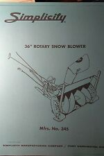 Simplicity Landlord Tractor Plow & Snow Thrower Owner & Parts (2 Manuals) 10pg
