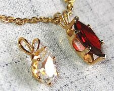 VTG Marquise Ruby Red Solitaire PLUS Pear Crystal CZ Pendants Gold Rollo Chain
