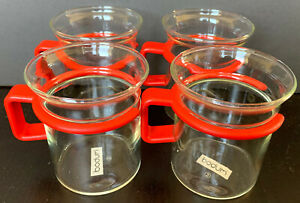 Set Of 4 BODUM Bistro Cups GLASS Coffee Cappuccino Mugs Red Handles