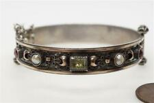 LOVELY ANTIQUE AUSTRO HUNGARIAN SILVER GOLD EMERALD RUBY & PEARL BANGLE c1890