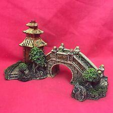 "Ornamento de pescado Zen asiática oriental Tower & Bridge 6"" Tanque Decoración de Acuarios"