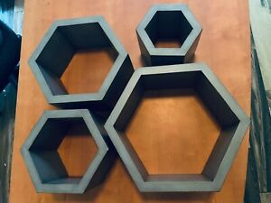 Hexagon Gray Wood shadow boxes 4 Different Flush Wall Mount Cubes Book Shelves