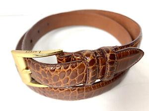 Lauren Ralph Lauren Women's Brown Genuine Italian Croc Leather Belt Size M