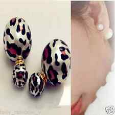 Hot Fashion Charm Leopard Print Double Faux Pearl Golden Earring Stud 1Pair Hot