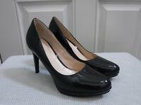 Women's COLE HAAN 8.5 Black Patent Leather Platform Stiletto Heels Pumps Shoes