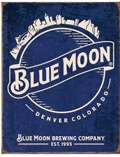 BLUE MOON BEER SKYLINE RUSTIC FINISH BREWIANA TIN SIGN 16 x 12.5