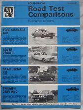 AUTOCAR road test featuring Ford Granada, Rover 2200, Triumph 2.5PI & SAAB 99