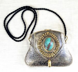 Hand Made Metal & Brass Purse with Chrysocolla/Turquoise Center Stone - Signed