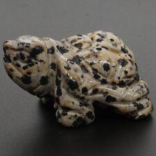 "1.5"" Natural Dalmation Jasper Turtle Tortoise Carved Craft Healing Reiki Gift"