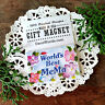 "DecoWords 2""x3"" Fridge Magnet WORLD'S BEST MEMA MAGNET Pretty floral  Gift NEW"