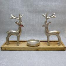 Formano Teelichthalter Elch Alu Mango Holz Metall Herbst Weihnachten groß