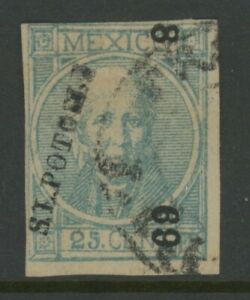 """MEXICO, 1868, USED, #61, SLP, 8-69 ERROR IN #'S """"8"""" FOR """"5"""", CLEAN & SOUND"""