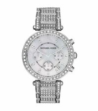 NEW MICHAEL KORS MK5572 PARKER LADIES SILVER PAVE CRYSTALS CHRONO WATCH