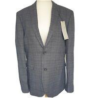 Next Mens Tailoring Suit Jacket 42R Blazer Slim Fit Blue Grey Checked BNWT Smart