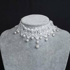 Women Gothic White Color Pearl Bride Short Flowers Collar Lace Necklace Jewelry