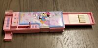 Vtg. Minnie Mouse Pencil Case Multi-Purpose Holder Pink Glitter Horse RARE SEE!!